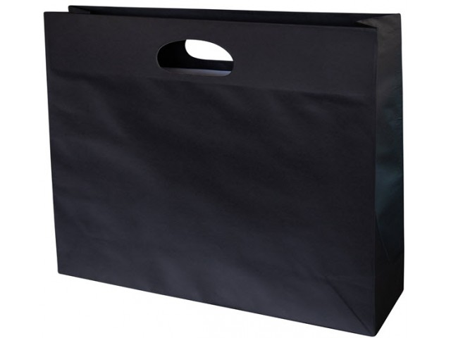 Landscape Medium Black Paper Bag with gusset and die cut handle