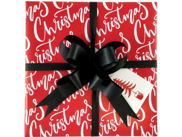 RED Christmas Text Gift Wrap (80gsm) 500mm x 50m Roll