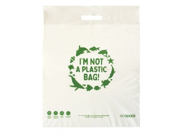 Compostable MEDIUM Retail Bag with punched handle Pack/50