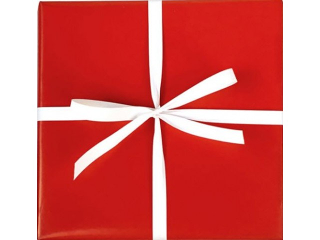 RED Gift Wrap Solid Print (80gsm) 500mm x 50m Roll