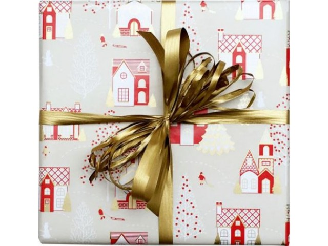 Xmas Town Gift Wrap Gold/Red (80gsm) 500mm x 50m Roll