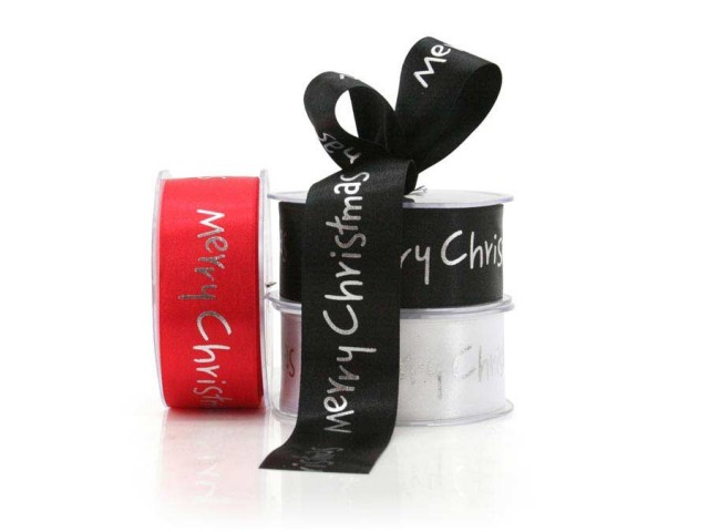 Merry Xmas Ribbon 38x25m Red/Silver