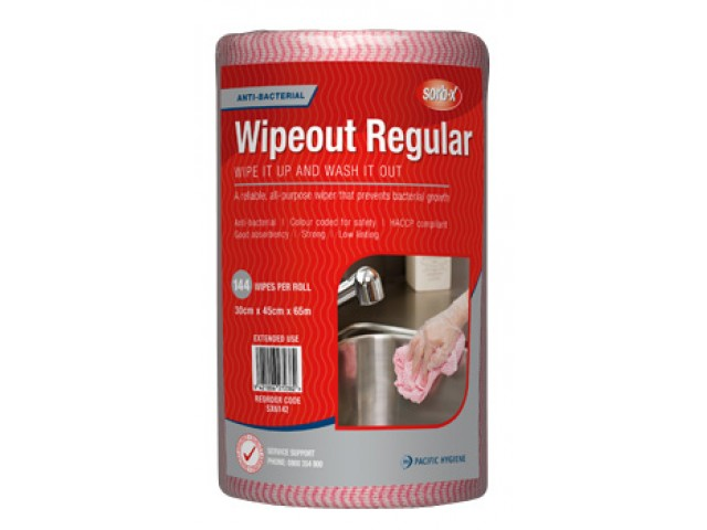 Wipeout Regular Wipes Perforated Roll/144 RED