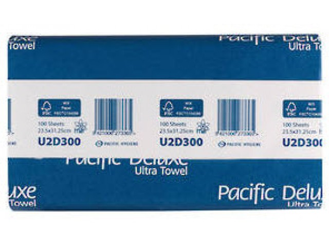 Pacific Deluxe 2 Ply Hand Paper Towels Carton (12 Packs/150 Sheets) U2D300